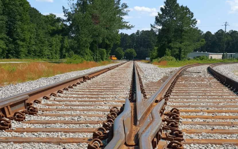 Two railroad tracks splitting off